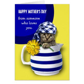 Der glückliche Tag der Mutter. Lustiges Grußkarte