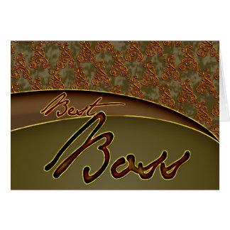 Der goldene braune Entwurf des besten Chefs Grußkarte