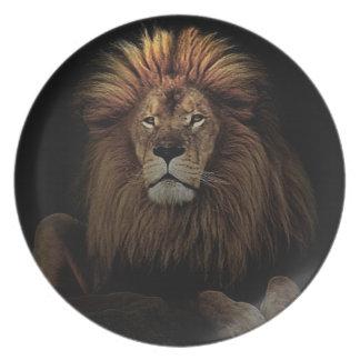 Der goldene stolze Löwe Afrika Melaminteller
