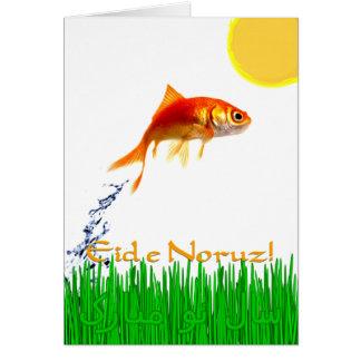 Der Goldfisch neues Jahr Eid e Noruz springend Karte
