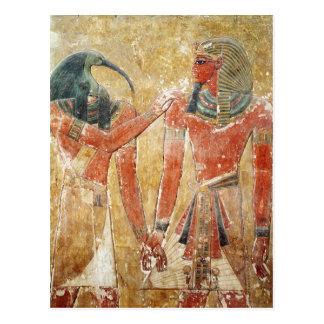 Der Gott Thoth mit Seti I im Grab von Seti Postkarte