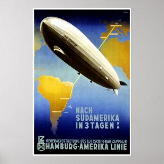 Der Graf Zeppelin Line Vintages Reise-Plakat