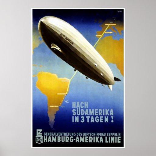 """""""Der Graf Zeppelin Line"""" Vintages Reise-Plakat"""