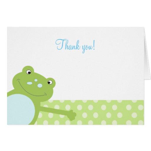 Der grüne gefaltete Sprungs-Frosch danken Ihnen zu Karten