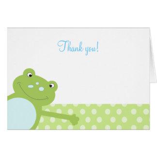 Der grüne gefaltete Sprungs-Frosch danken Ihnen zu Mitteilungskarte