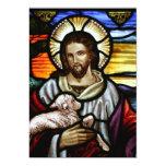 Der gute Hirte; Jesus auf Buntglas 12,7 X 17,8 Cm Einladungskarte