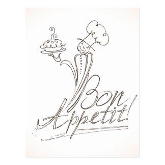 Der gute Koch sagt Bon Appetit! Postkarte