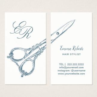 Der Haar-Stylist, der Vintag ist, Scissor u. die Visitenkarte