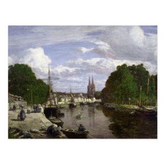 Der Hafen in Quimper, 1857 Postkarte