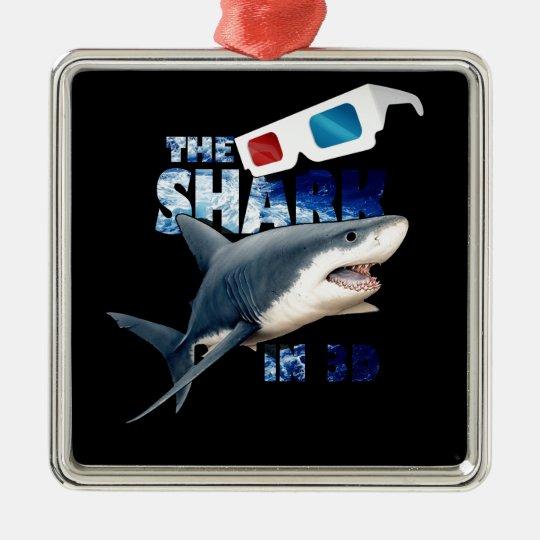 Der Haifisch-Film Quadratisches Silberfarbenes Ornament