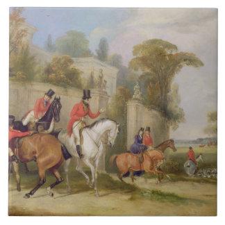 Der Hall des Junggesellen, das Treffen, 1835 (Öl a Große Quadratische Fliese