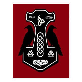 Der Hammer des heidnischen keltischen Thors mit Postkarte