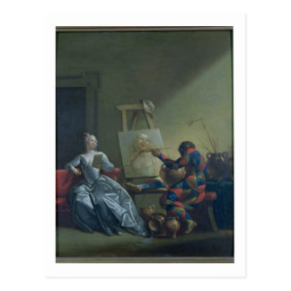 Der Harlekin-Maler, c.1742 (Öl auf Leinwand) Postkarte