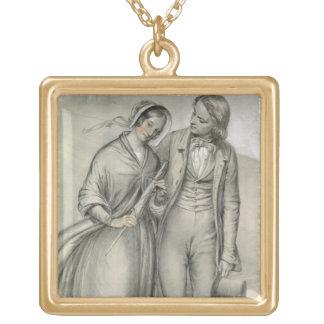 Der Hochzeits-Morgen - die Abfahrt, c.1846 Halskette Mit Quadratischem Anhänger