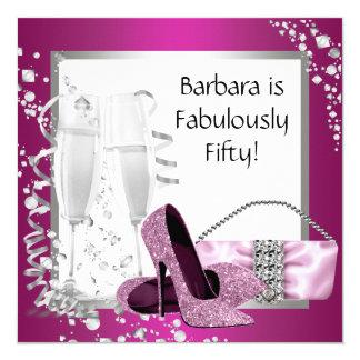 Der hohen der rosa schwarze Geburtstag Heels-Frau Quadratische 13,3 Cm Einladungskarte