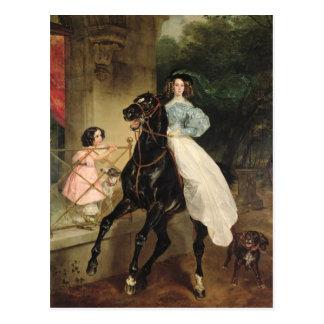 Der Horsewoman, Porträt von Giovanina Postkarte