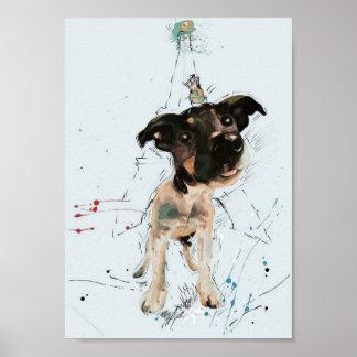 Der Hund und der Floh, die Paris besichtigen Poster