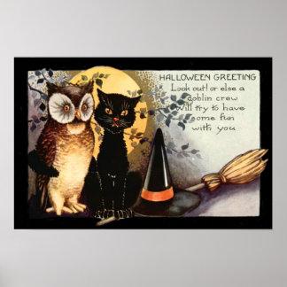 Der Hut der Eulen-schwarze Katzen-Vollmond-Hexe Poster