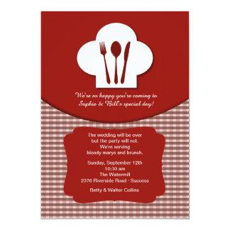 Der Hut-(rote) Posten-Hochzeitbrunch-Einladung des 12,7 X 17,8 Cm Einladungskarte