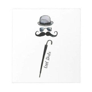 """Der Hut-Schnurrbart-Regenschirm """"cooler Typ """" des Notizblock"""