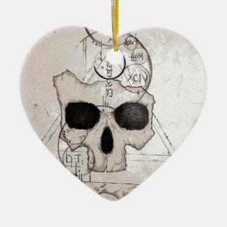 Der Hyman Schädel Posterized Keramik Herz-Ornament