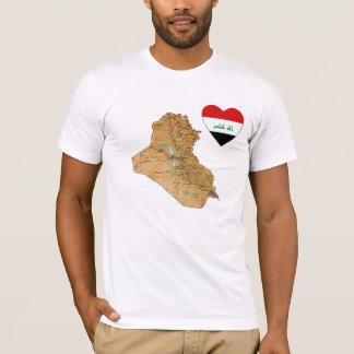 Der Irak-Flaggen-Herz und Karten-T - Shirt