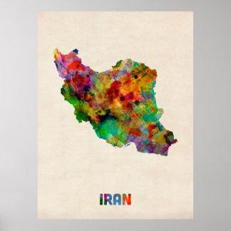 Der Iran-Aquarell-Karte Poster
