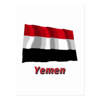 Der Jemen, der Flagge mit Namen wellenartig bewegt Postkarte