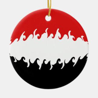 Der Jemen-Gnarly Flagge Rundes Keramik Ornament