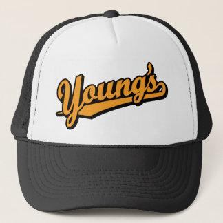 Der Jugend in der Orange Truckerkappe