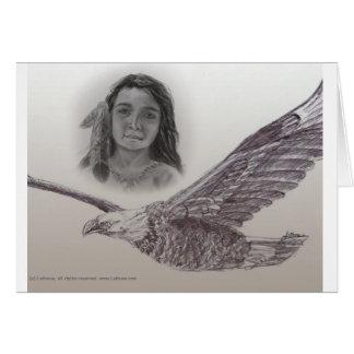 Der Junge, der mit Eagles-Karte flog Grußkarte