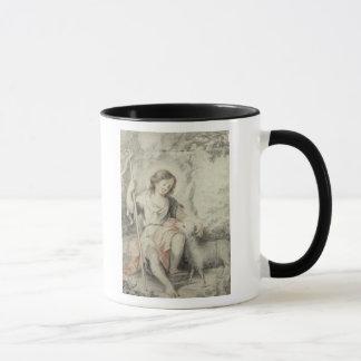 Der junge John mit dem Lamm in einer Landschaft Tasse
