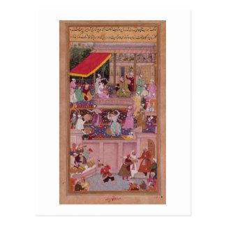 Der junge Prinz mit seinen Eltern, vom 'Akbar Postkarten