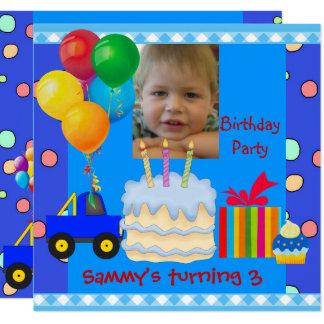 Der Jungen-3. Geburtstags-Party-blaues Rot-Gelb Karte