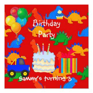Der Jungen-3. Geburtstags-Party-Dinosaurier-Rot Quadratische 13,3 Cm Einladungskarte
