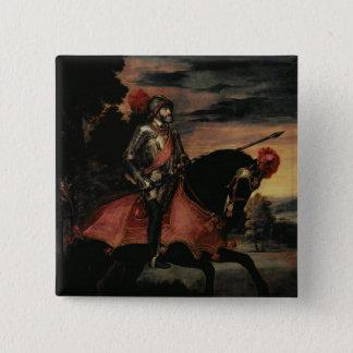 Der Kaiser Charles V zu Pferd Quadratischer Button 5,1 Cm