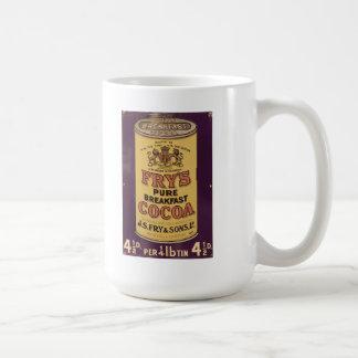 Der Kakao-Vintage Anzeige des Fischrogens Kaffeetasse