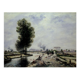 Der Kanal de L'Ourcq nahe Pantin, 1871 Postkarte
