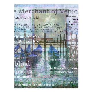 Der Kaufmann von Zitaten Venedigs Shakespeare Postkarte