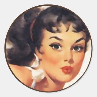 Der Kitsch Bitsch: Button-Oben Porträts Runder Aufkleber