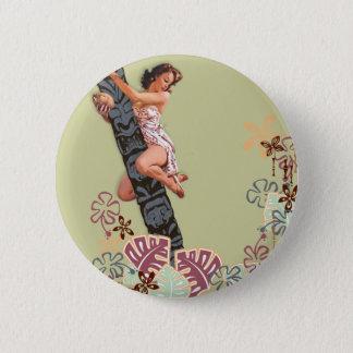 Der Kitsch Bitsch: Herauf einen Tiki Baum! Runder Button 5,1 Cm