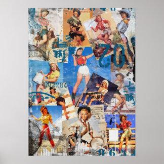 Der Kitsch Bitsch: Zerstörte Cowgirl Button-Oben Poster