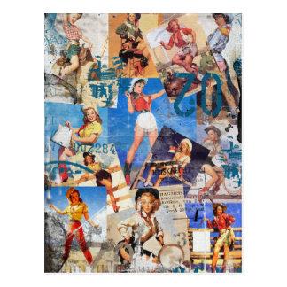 Der Kitsch Bitsch: Zerstörtes Cowgirl Button-UPS N Postkarte