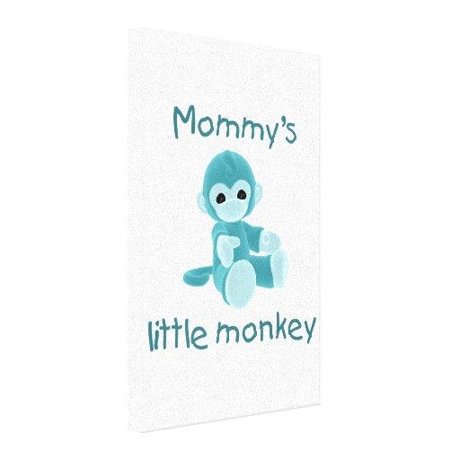 Der kleine Affe der Mama (aquamarin) Gespannte Galeriedrucke