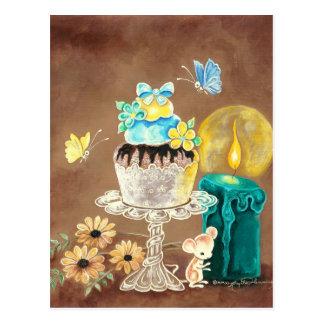 Der kleine Kuchen, die Kerze und die Maus Postkarte