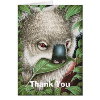 Der Koala, der ein Blatt kaut, danken Ihnen Karte