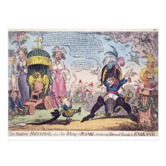 Der König von Rom, 1814 - Cartoon, der Napoleon Postkarte