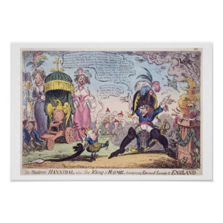Der König von Rom, 1814 - Cartoon, der Napoleon ze Poster