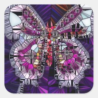 Der königliche Schmetterlings-Effekt - Saphir u. Quadratischer Aufkleber