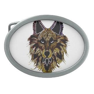 Der Kopf des Wolfs Ovale Gürtelschnallen
